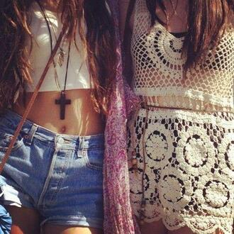 jewels cross black necklace gothic shorts t-shirt hipster blouse tank top lace cream summer indie seethrough shoes tumblr clothes cross necklace white cover up mesh pants shirt croptops crop tops croptop dress knit cropped white purple cardigan high waisted denim shorts romper