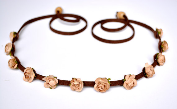 Mini champagne rose flower crown tan flower headband small rose floral crown festival headpiece hipster halo hippie crown edm edc bohemian
