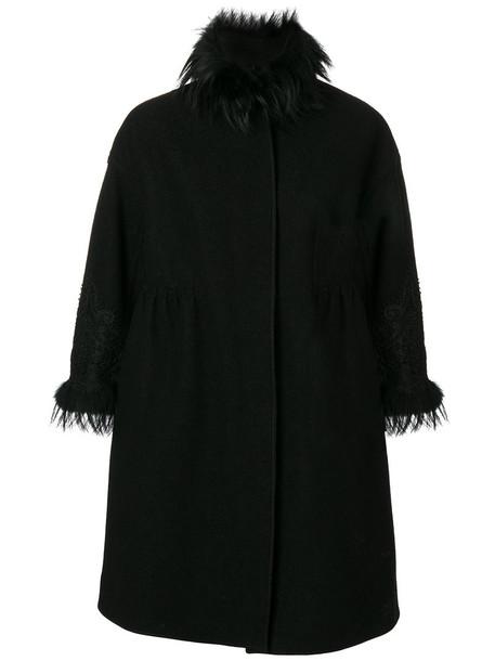 Ermanno Scervino coat fur fox women black wool