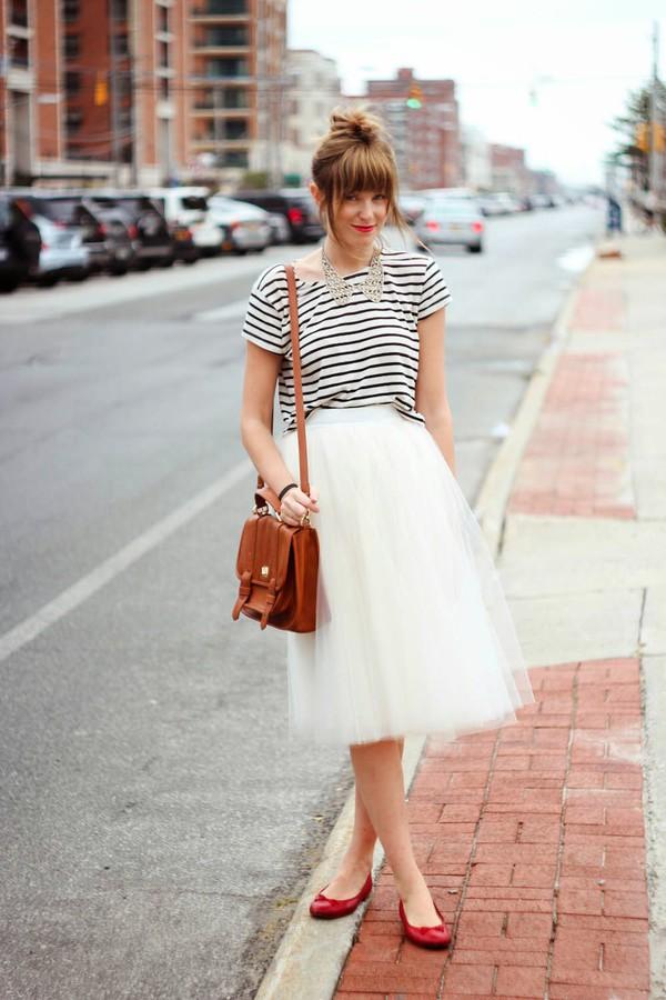 steffy's pros and cons t-shirt skirt jacket stripes striped shirt ballet flats bag