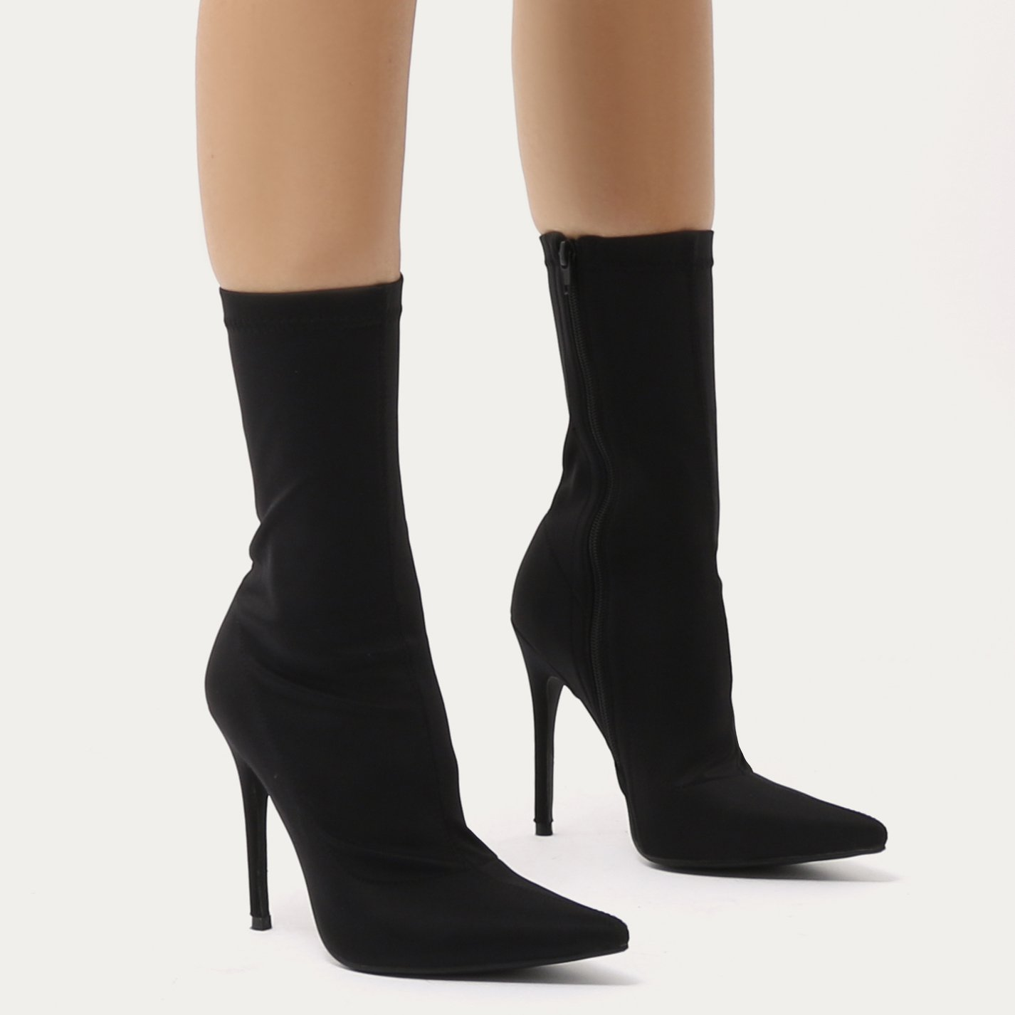Direct Pointy Sock Boots in Black Stretch