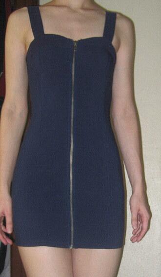 dress mini mini dress navy blue bodycon bodycon dress zip-up zip up dress party dress tank top