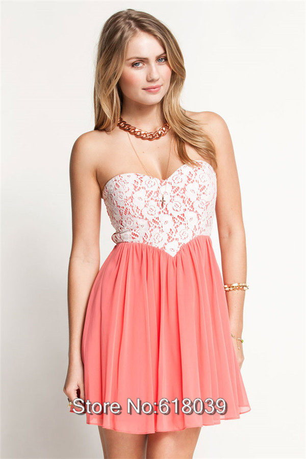Free Shipping D030 Cheap Sale New Fashion 2013 Brand Chiffon Lace Cute Ladies' Strapless Cocktail Dress Pink-in Apparel & Accessories on Aliexpress.com