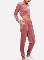 jumpsuit,girly,pink,velvet,velout,velour,velour sweatsuit,two-piece,matching set,joggers