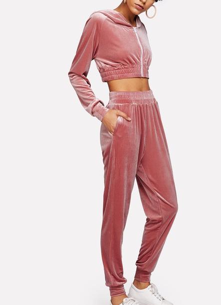 Jumpsuit Girly Pink Velvet Velout Velour Velour Sweatsuit Two Piece Matching Set Joggers Wheretoget
