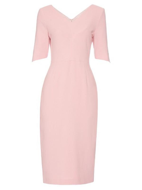 aeaad441fcd GOAT Carmen V-neck wool-crepe dress in pink