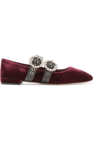 ballet embellished flats ballet flats leather velvet burgundy shoes