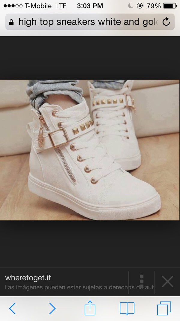 shoes high top sneakers white and gold