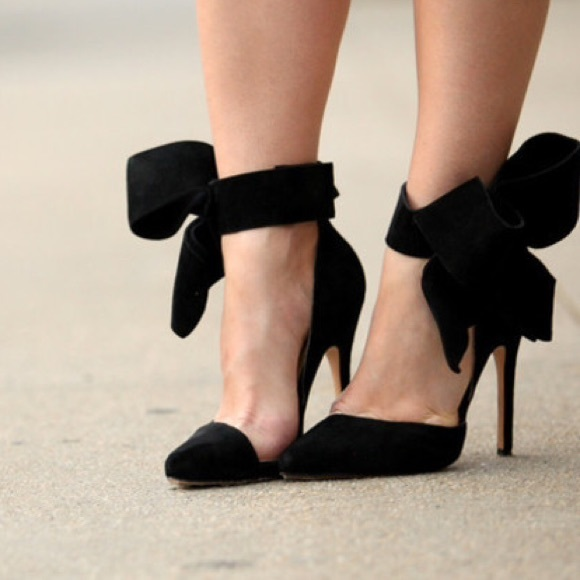 31 Off Shoes Black Ankle Bow Heels From Jalynn S Closet On Poshmark
