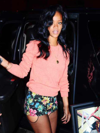 shorts sweater tights pink necklace bracelets floral rihanna blouse cute girly