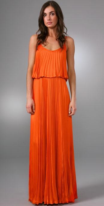 Halston heritage pleated long dress