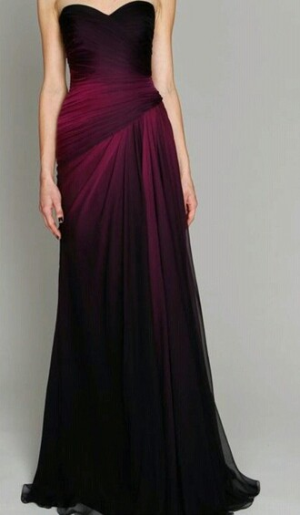 prom dress burgundy dress ombre dress long dress dress