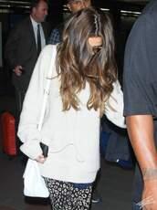 sweater,selena gomez,celebrity,pants,bag,sunglasses,phone,hair,white,winter outfits