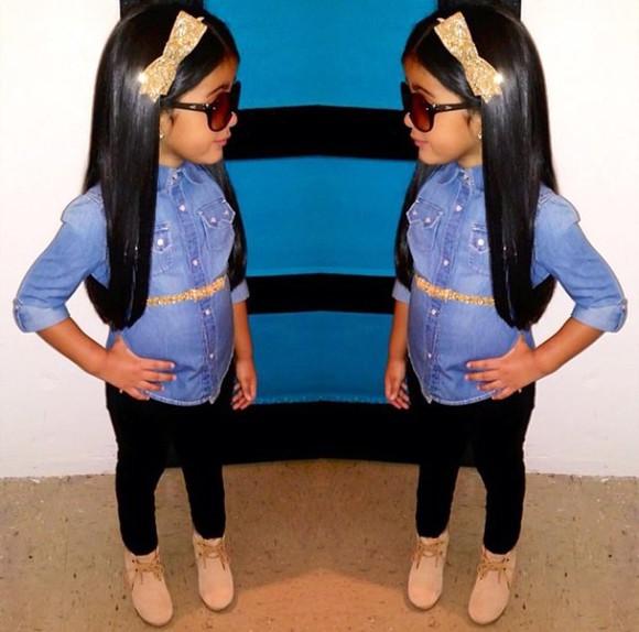 bows girls toddler kids fashion bow headband denim shirt sunglasses sunglasses, kim kardashian, black, balmain, love,