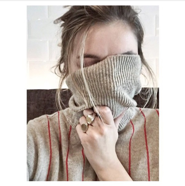 sweater jewels turtleneck beige stripes ring ring gold jewelry gold winter sweater