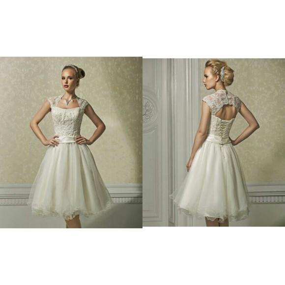 lace dress white dress backless dress wedding dress tulle wedding dresses open back prom dress knee length wedding dres