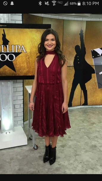 dress phillipa soo dark red dress choker dress long dress short sleeve flowy