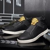 shoes,black leather versace no laces