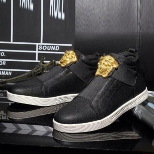 shoes black leather versace no laces