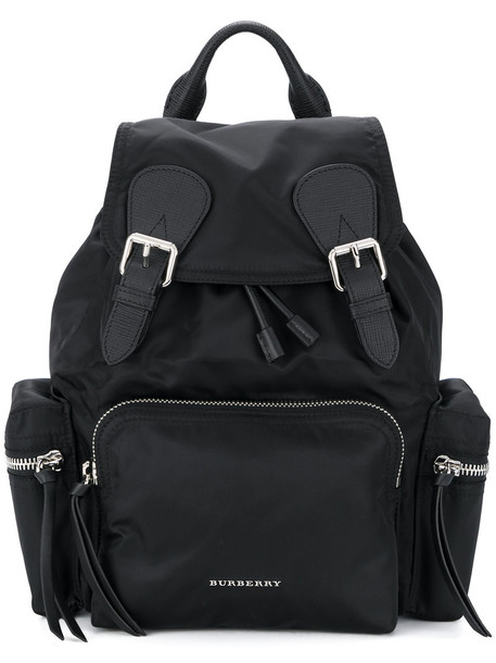 Burberry women backpack leather cotton black bag