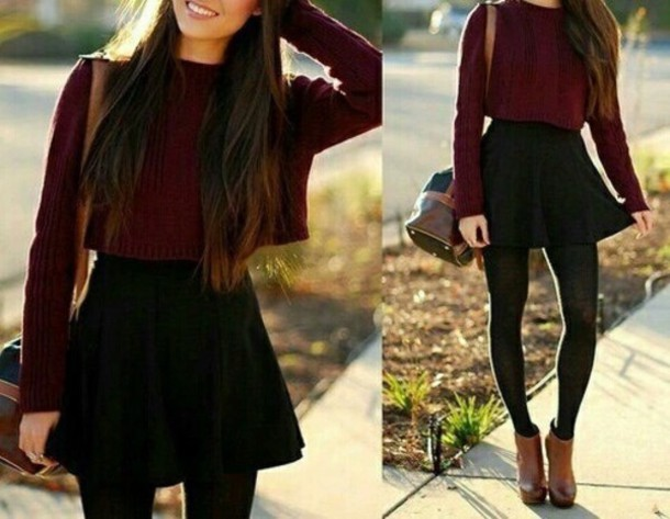 Sweater outfit tumblr fall outfits jumper bag shoes ...