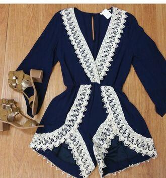 jumpsuit haute rogue romper deep v neck deep v blue romper blue jumper cobalt blue jumpsuit blue jumpsuit crochet crocheted crochet jumpsuit bell sleeves bell sleeve