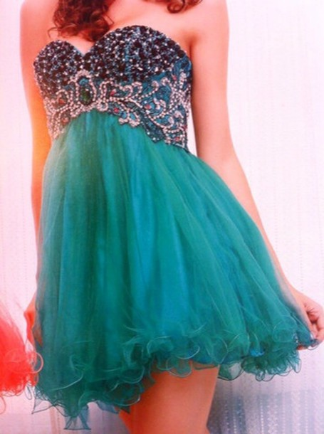 dress green dress tulle skirt bling strapless short dress prom dress