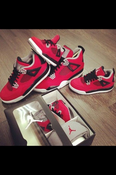 shoes nike jordan air jordan jordan air sneakers red dire jordan 4 pretty