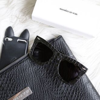 sunglasses maniere de voir croc embossed oversized texture oversized sunglasses black sunglasses crocodile summer accessories