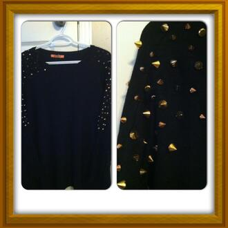 sweater long sleeves black studded gorgeous
