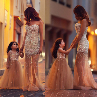 dress prom gown formal nude tulle dress bridesmaid elegant vanessawu