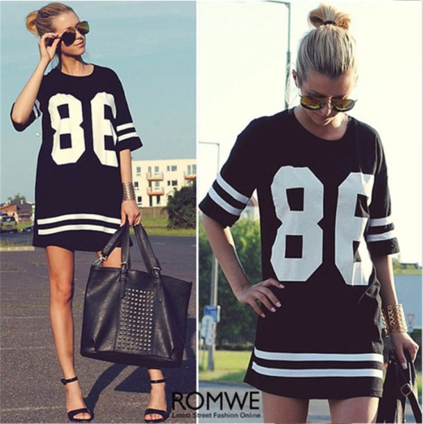 dress black white baseball oversized
