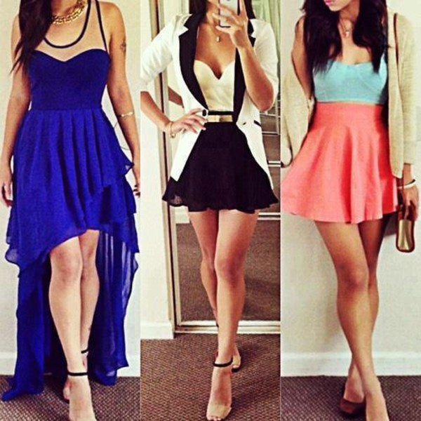 Dress: long, shorts, high waisted shorts, skirt, blue, maxi dress ...