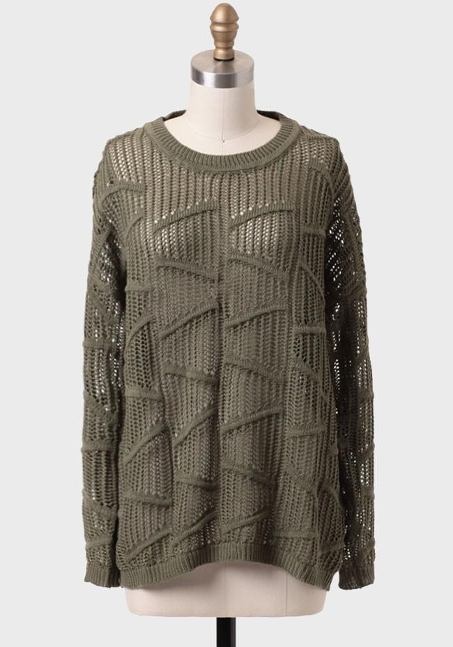 Moss meadow open knit sweater