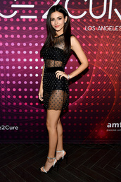 shoes,sandals,sandal heels,victoria justice,celebrity,see through,see through dress,mini dress