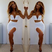 two-piece,white,dress,slit dress,split sexy dress,high waisted,crop tops,plunging,v neck,strapless,cut on side