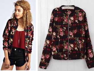 jacket coat bomber jacket plaid jacket plaid fashion flowers floral black tank top high waisted shorts denim shorts style streetwear urban clothes girly roses dress
