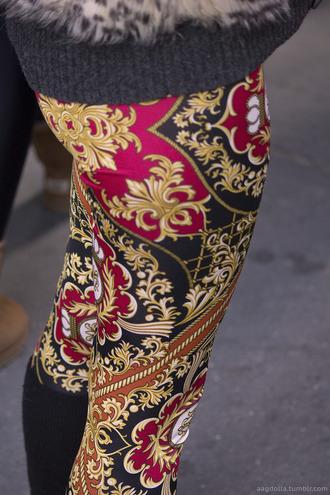pants leggings vintage print old school hipster victorian floral paisley