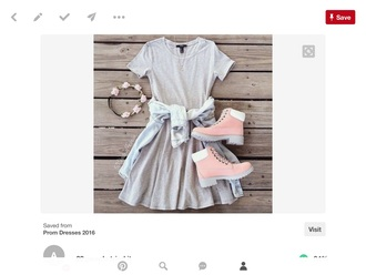 dress cute cute dress grey dress tomboy boots rose gold boots pink boots cute boots flower crown flowers flower headband tomboy outfit