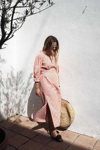 dress tumblr maxi dress long dress red dress stripes striped dress slip dress shoes slide shoes bag round tote