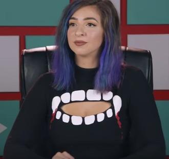top vampire black sweater long sleeves turtleneck turtleneck sweater shirt mouth teeth