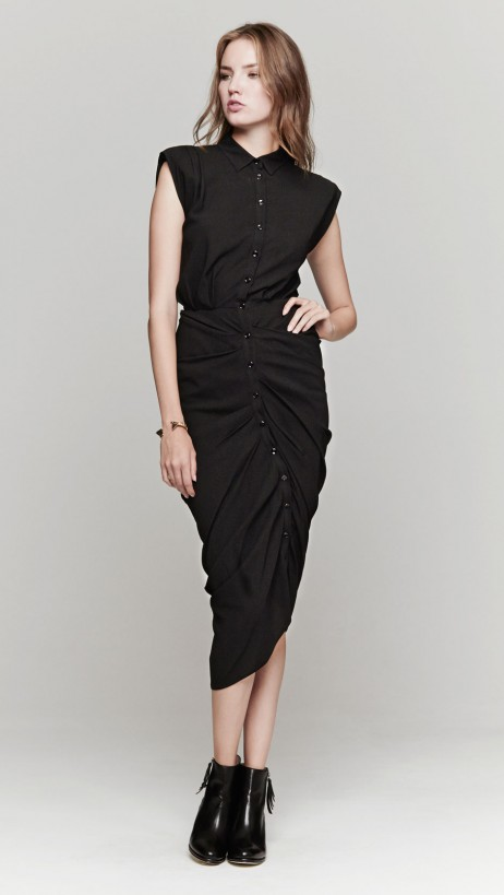 Band Of Outsiders Shirt Dress In Black | The Dreslyn