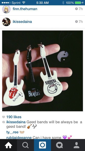 keychain guitar cute the beatles the rolling stones nirvana keychain home accessory