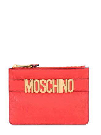 pouch leather red bag