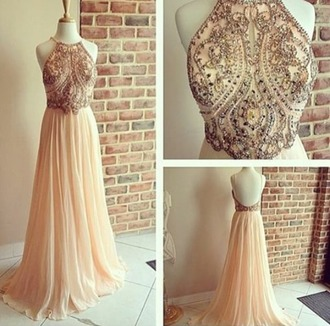 dress prom fancy gala pink sparkle maxi maxi dress pink dress prom dress halter top halter neck coat