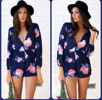 dress blue navy flowers floral romper jumpsuit classy floral romper shorts long sleeves glamour fabulous high class inlove nice pink ebonylace.storenvy ebonylace-streetfashion hat