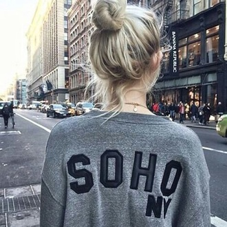 sweater gray sweater grey new york shirt new york fashion hair black sweater soho