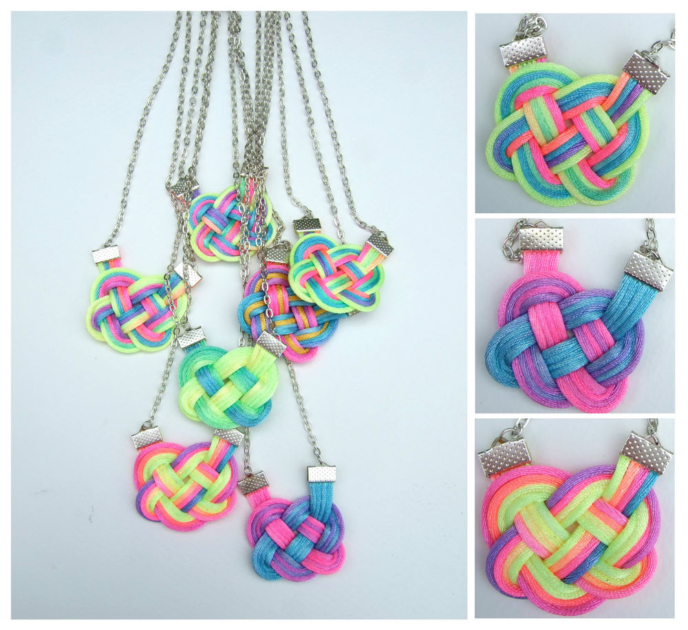 Dip tie dye ombre neon rainbow knot necklace