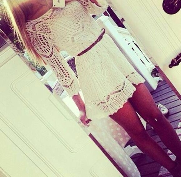 dress white crochet white white dress lace dress skater dress dolly skater dress teen fit and flare black body net dress crochet dress