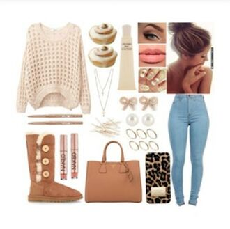sweater ugg boots boots brown bag pants jeans bag purse necklace jewels ootd style clothes set ring bun high jeans high pants polyvore brown uggs fall sweater winter sweater tan sweater holey sweater knitted sweater skinny pants skinny jeans high waisted jeans high waisted blue jeans fall outfits lip gloss nail art tumblr outfit polyvore outfit warm jacket shoes